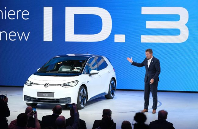 Volkswagen unveiled ID.3 at the Frankfurt Auto Show, a $33,000 electric car with internet connection and driver assist technology.